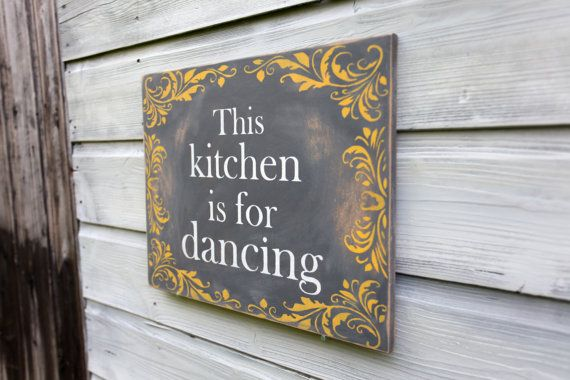 Kitchen Sign Kitchen Decor Grey Yellow Wall Art by TheHeartwood, £25.00