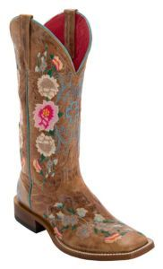 Anderson Bean Macie Bean Women's Antiqued Honey Brown w/ Rose Garden Embroidery Square Toe Boots | Cavender's