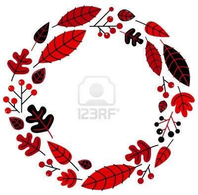 Retro christmas wreath with leaves and ashberry. illustration