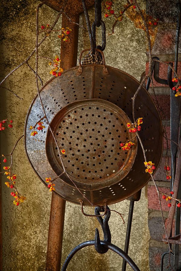 Rusty colander & bittersweet - I have a colander just like that & a black chain that I could have it from...I could add different items to switch it out for the holidays.