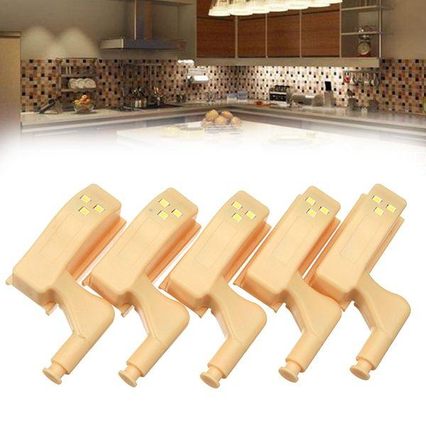 5pcs Battery Powered PIR Motion Sensor LED Cabinet Hinge Night Light for Kitchen Cupboard Closet