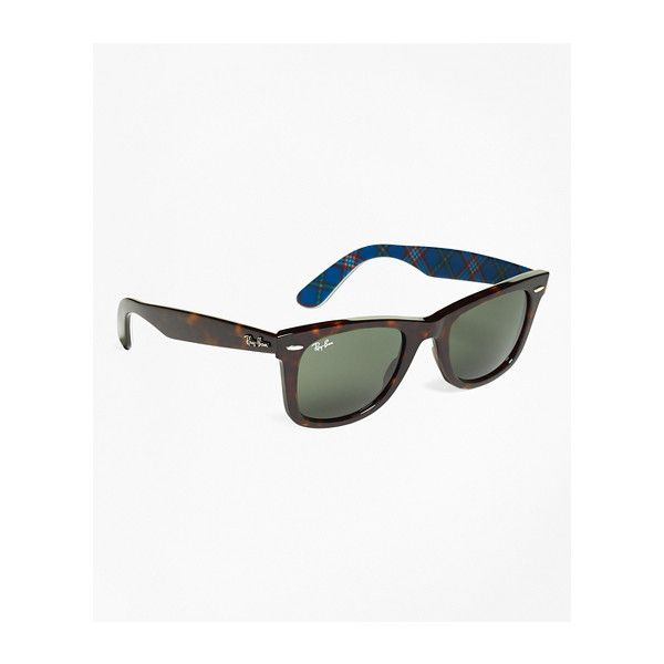 Brooks Brothers Ray-Ban?(R) Wayfarer Sunglasses with Tartan (9,565 INR) ❤ liked on Polyvore featuring men's fashion, men's accessories, men's eyewear, men's sunglasses, men's wayfarer style sunglasses and mens wayfarer sunglasses