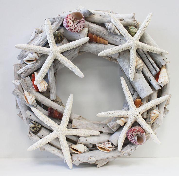 "Driftwood & White Finger Starfish 14"" Decorative Coastal Wreath by @SeaShellsbySeaShore LovingCoastalLiving #beach #decor"