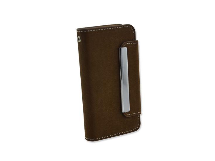 Luxe suede bookcase boek hoesje iPhone 4/4S donker bruin