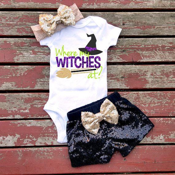 Where My Witches At Halloween Bodysuit, Baby Girl, Girls, Toddler, Glitter, Sparkle, Halloween, Thanksgiving, Fall, Pumpkin, Pumpkin Spice