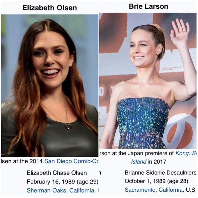 Despite Steve States Wanda Is A Kid Elizabeth Olsen Is Older Than Brie Larson Who Is Playing Carol Who Is In Her Early 30 Marvel Funny Elizabeth Captain Marvel