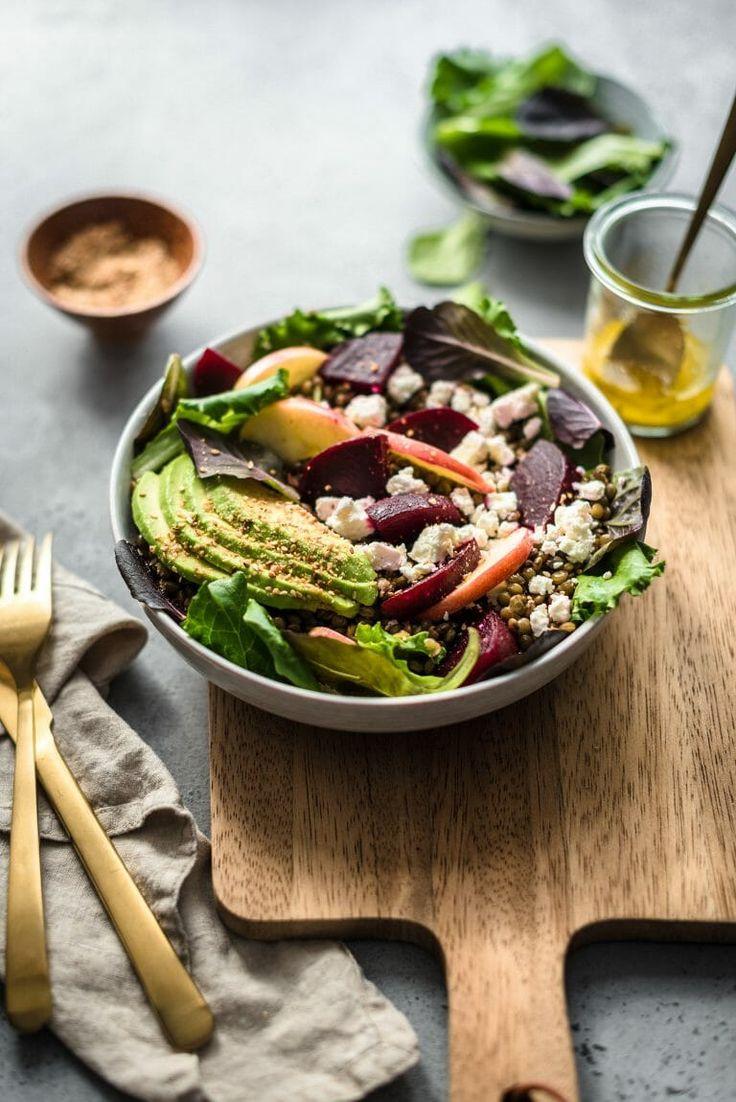 Salade complète aux lentilles vertes, betterave, pomme ...