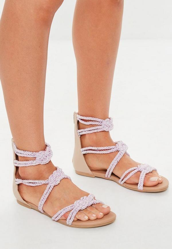 c3686915c644 Pink Multi Knot Rope Flat Sandals