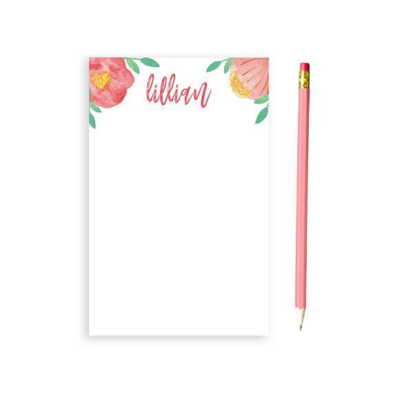 Floral Notepad Notepad Floral Notepad Custom Notepad Brial
