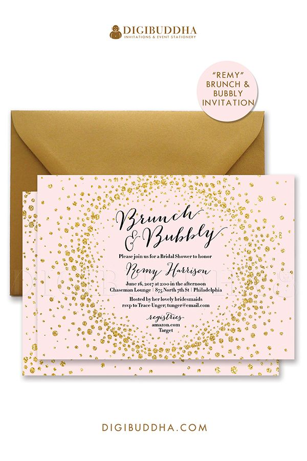 Blush pink and gold glitter Brunch & Bubbly bridal shower invitations. Choose from ready made printed cards with envelopes or printable monograms & mimosas bridal shower invites. Gold shimmer envelope also available, at digibuddha.com