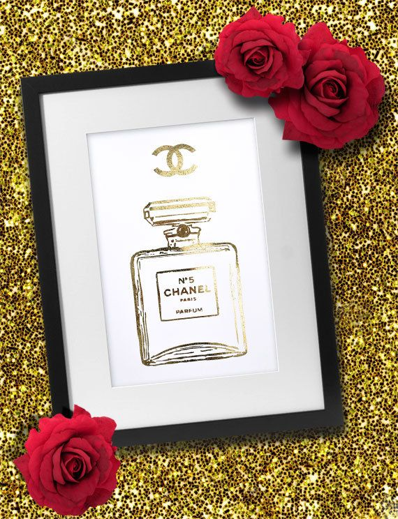 Coco Chanel Perfume Bottle Gold Foil Print by TroublemakrEshop, $15.00