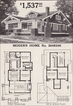 Sears Craftsman-style House - Modern Home 264B240 - The Corona - 1916 Bungalow Home Plan