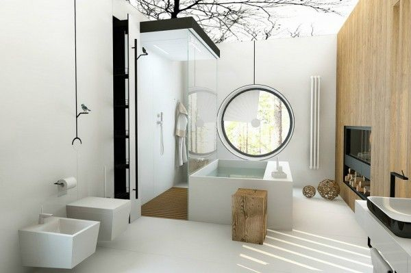 This bathing space, by Patrushev Eugene and Irina, is another nature inspired room. The dark branches of a treetop silhouette bough over the...