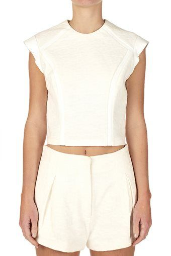 square weave contrast top natural   bassike