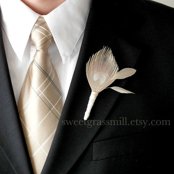 Grooms Peacock Feather Boutonniere  FAIRE by sweetgrassmill, $19.00