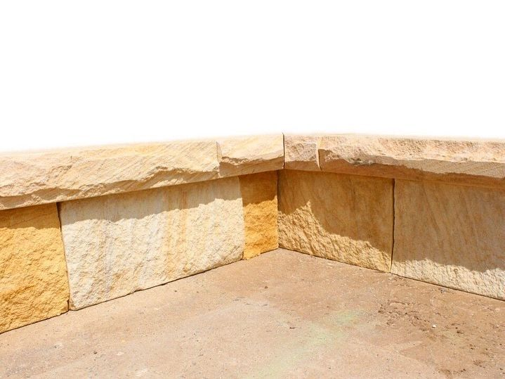 Sandstone capping. Stone capping. Natural stone capping. Natural stone cladding. Natural stone wall. Australian sandstone capping. Rockface sandstone.
