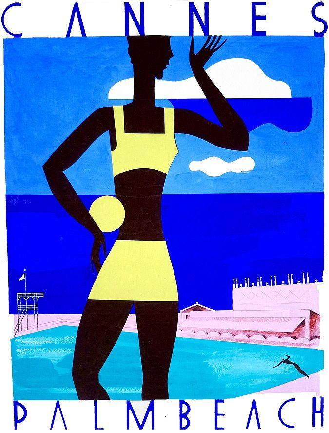 ✨   L. J. GRANGE - Cannes Palm Beach, Gouache signée JGL & datée au dos 32 1932