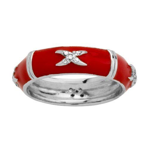 Sterling Silver Red Enamel X Design Diamond-Accent Women's Ring Amazon Curated Collection. $49.32. Made In Thailand (Siam )