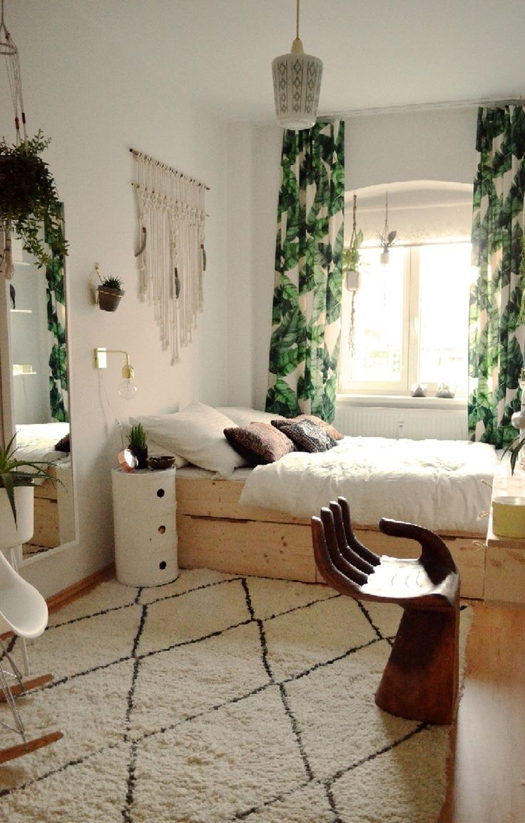 Boho bedroom layout | I could totally get a tapestry from Society6 with this leafy print, cut it in half, fold over the top and sow it to make a loop, and I'd have myself some curtains.
