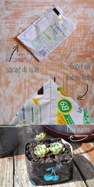 ArNordica: DIY maceta reciclada usando sachets de leche / DIY garden pot using milk sachets