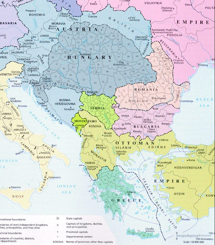 1912 - The Balkans before the Balkan War : The First Balkan War was started by an alliance made up of Bulgaria, Greece, Serbia, and Montenegro.