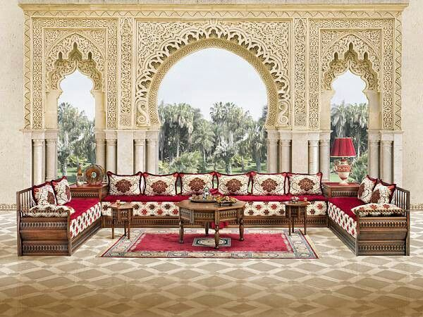 Traditional Moroccan Living room with arabesque wooden work. #Moroccan # Living #Arabesque.