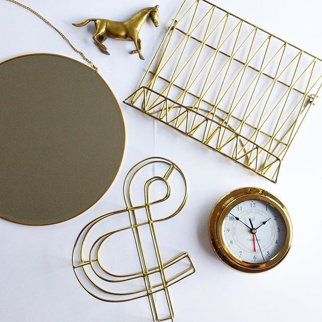 For those of you not into the copper trend, we also have brass #brasslove #chainmirror #metalampersand #tideclock #menuholder #instorenow