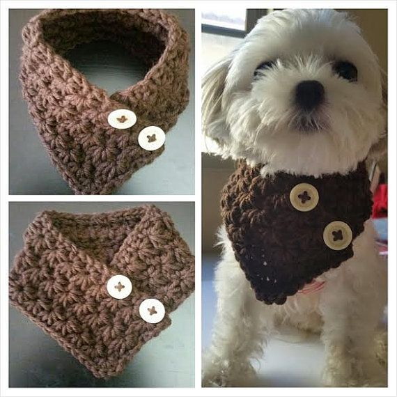 Crocheted Small Dog Puppy scarf fits most S or M by QuiltNCrochet