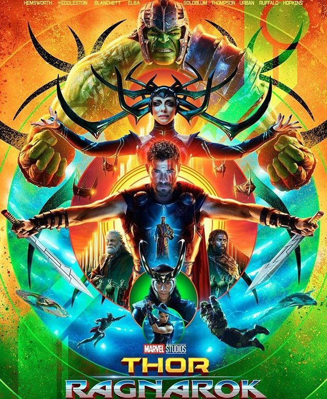 Thor Ragnarok: Thor Odinson (Chris Hemsworth), Hulk (Mark Ruffalo), Hela (Cate Blanchett), Heimdall (Idris Elba), Grandmaster (Jeff Goldblum), Valkyrie (Tessa Thompson), Loki Laufeyson (Tom Hiddleston) and Odin (Anthony Hopkins)