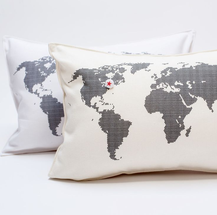 natural organic hemp or white cotton pillows printed with a map of the world. they come with a needle thread and a star button to sew onto where you live ( ... & 240 best pillows images on Pinterest | Pillow talk Cushions and ... pillowsntoast.com