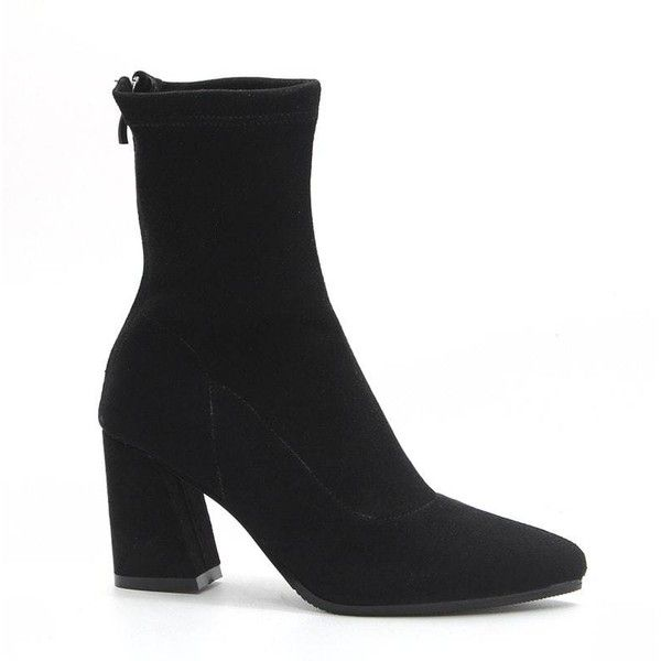 Autumn and Winter Style New Thick Heel Pointed British Wind Elasticity... ($37) ❤ liked on Polyvore featuring shoes, boots, rosegal, chunky-heel boots, pointy-toe boots, thick heel shoes, elastic boots and wide heel shoes