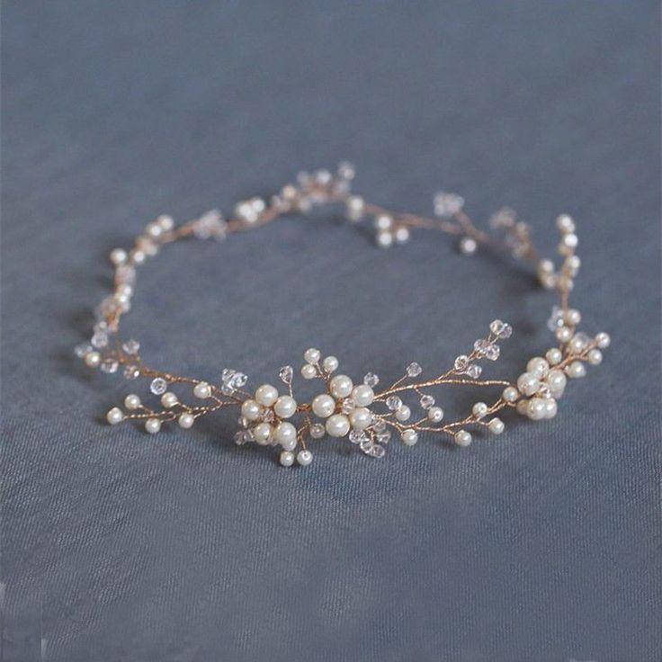 New Handmade Pearl Bridal Hair Wreath Wedding Accessories Gold Crystal