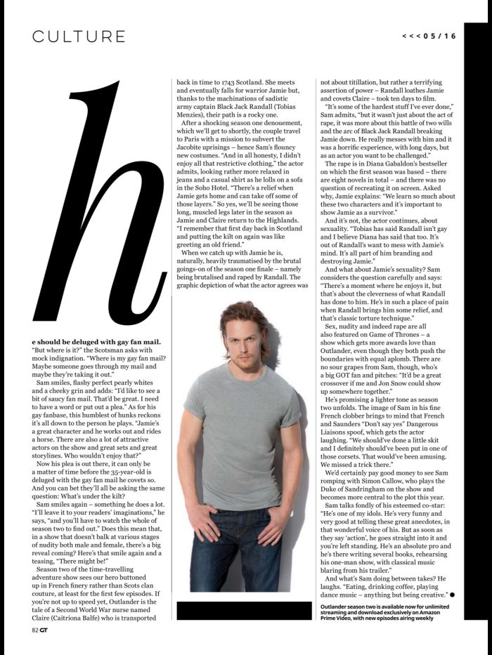Here are HQ digital scans of Sam Heughan's interview with Gay Times See more scans after the jump! –