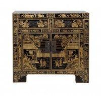 Черный китайский комод с золотой росписью