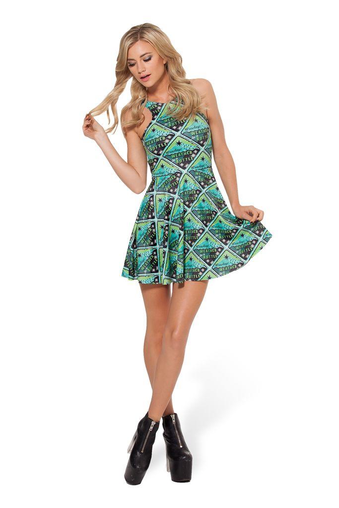 Weasley Weather Bottle Reversible Skater Dress › Black Milk Clothing