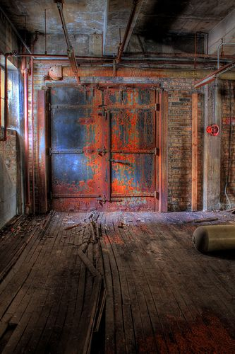 rusted metal door - color idea for dining room table top.