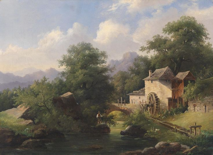 Albert Rieger Disegni di paesaggi, Dipinti ad olio con