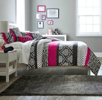 Hot pink black white teen girls queen comforter shams - Black white pink comforter ...
