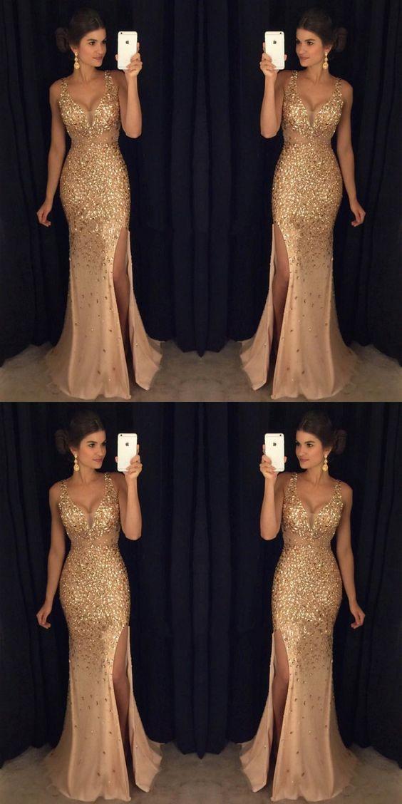 Long Prom Dresses with Slit, Sheath Graduation Party Dress V-neck, Sparkly Gold Formal Dresses Tulle
