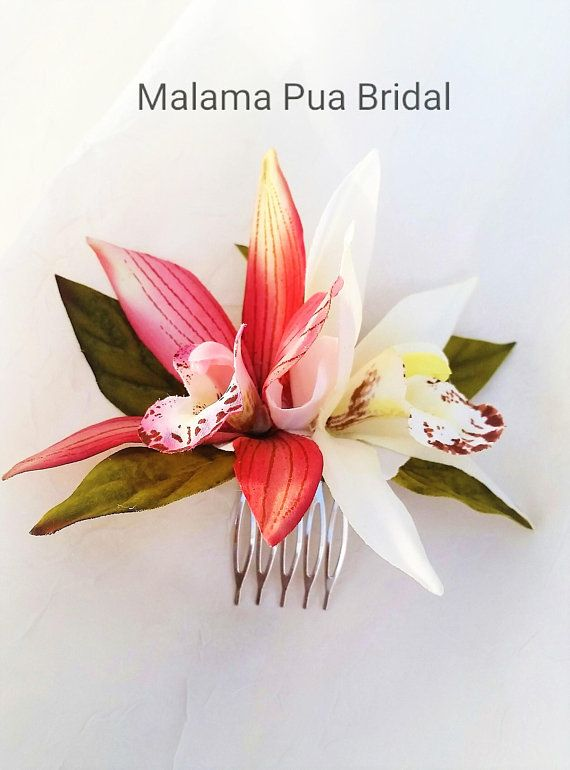 Silk Orchid Hair Comb Tropical Hair Accessory Hair Flower Etsy In 2020 Hawaiian Wedding Flowers Bridal Flowers Silk Hair Flower