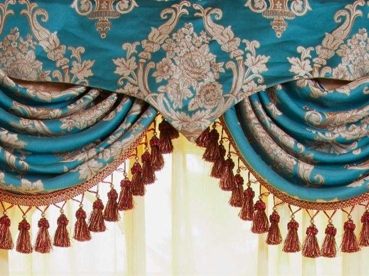 Blue Lantern Swag Pelmet Valances Curtain Drapes 50