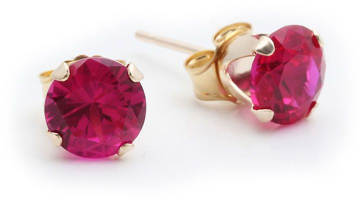 Fine Jewelry Lab Created Red Ruby 10K Gold 6mm Stud Earrings Adp1ea
