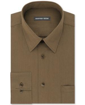 Geoffrey Beene Men's Classic Fit Wrinkle Free Solid Dress Shirt - Tan/Beige 16.5 34/35