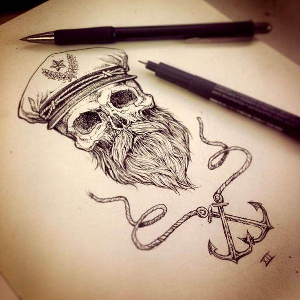 awesome beard art beards bearded man men nautical sailor anchor anchors tattoos tattoo idea ideas skull skulls skeleton artwork flash sketch illustration by David O'Hanlon
