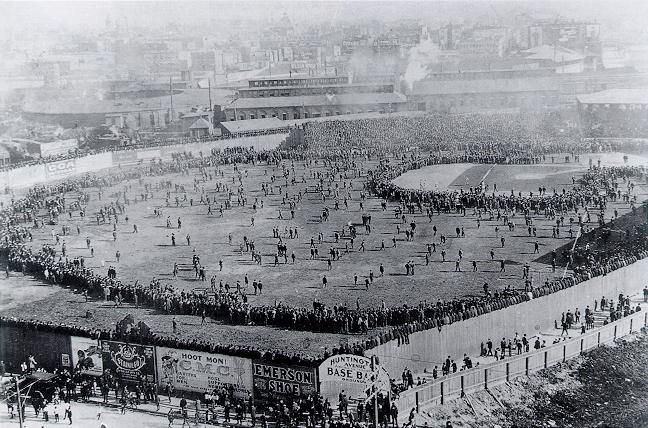 1903 World Series - Huntington Avenue Grounds in the foreground, South End Grounds in the hazy background
