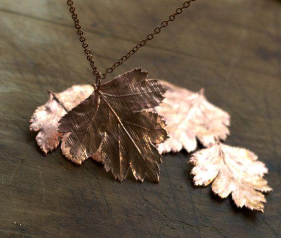 Hawthorn blad hanger electroformed koper botanische