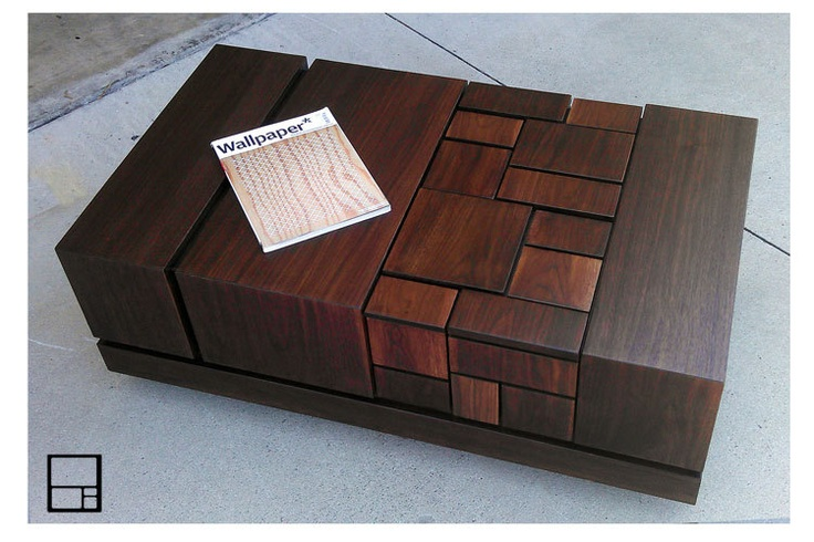 MSTRF / ETNA - 42 x 24 Modern Abstract Walnut COFFEE Table Lacquer Finish with Geometric Pattern. $1,375.00, via Etsy.
