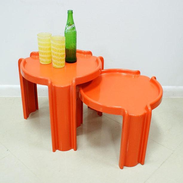 Pair Of Kartell Side Tables orange, vintage, kartell