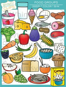 The Food Groups clip art contains 58 image files, which includes 29 color images and 29 black & white images in png and jpg. All images are 300dpi for better scaling and printing. $