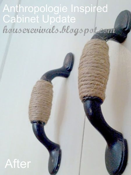 DIY Decorating Ideas: Update your cabinet hardware for very little money by wrapping them in twine or rope. This project was inspired by knobs from Anthropologie and was done for considerably less. Cabinet Hardware Makeover Tutorial